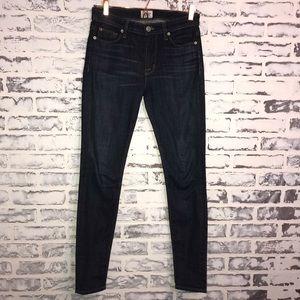 Hudson 27 Nico Midrise Skinny Dark Wash Jeans
